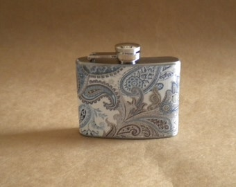 On SALE Garter Flask of Blue, Brown, and Cream Paisley Print 4 Ounce Stainless Steel Hip Flask