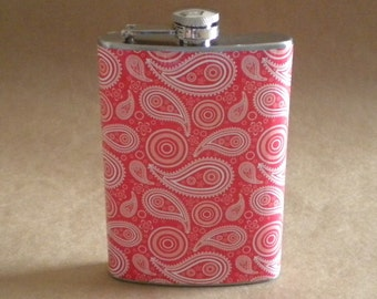 Flask on Sale Red and White Paisley Country Western Bandana Type Print Stainless Steel Hip Flask