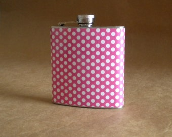 Ready to Ship Girly Gift Pink and White Polka Dot Bridal Party Birthday Stainless Steel Hip Flask 6 ounces KR2D 3700