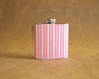 Ladies' Gift Flask Pink and White Stripes Print 6 ounce Stainless Steel Girl Gift Flask