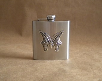 Silver Butterfly 6 ounce Stainless Steel Gift Flask KR2D 3969