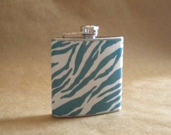 Sorority Gift Teal and White Zebra Print 6 ounce Stainless Steel Girl Gift Flask