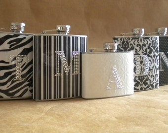 Wedding Party Special 4 Bridesmaids Gift Flasks and 1 Bridal Flask All with Rhinestone Initials