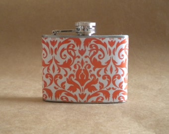 Garter Flask on SALE Orange and White Damask Bridal Party Girl Gift Stainless Steel 4 ounce Hip Flask