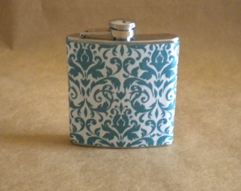 Bridesmaids Gift Teal and White Damask Print 6 ounce Stainless Steel Girl Gift Flask