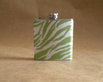 Green and White Zebra Print 6 ounce Stainless Steel Girl Gift Flask