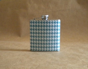 Bridesmaids Gift Teal Blue/Green and White Houndstooth Print 6 ounce Stainless Steel Girl Gift Flask
