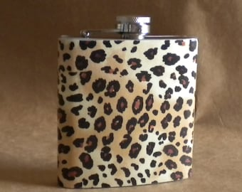 Leopard Print 6 ounce Stainless Steel Girly Gift Flask KR2D 2166