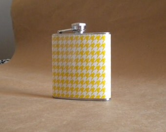 Sale Flask Yellow and White Houndstooth Print Girl Gift Flask 6 ounces