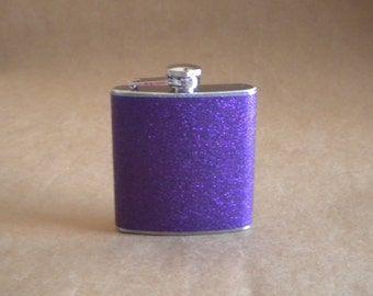 Purple Sparkly or ANY Color Sparkly 6 ounce Stainless Steel Girly LSU, Kansas State, TCU Gift Flask