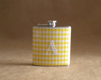 Ready to Ship Personalized Gift Flask Yellow and White Houndstooth Print with Rhinestone Initial Bridesmaids Gift Flask 6 ounces