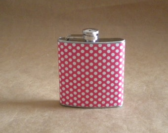 Red and White Small Polka Dot Print Girl Gift Flask 6 ounces