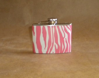 Garter Flask Pink and White Zebra Print Girly Gift Stainless Steel 4 ounce Hip Flask