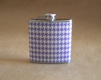 Sale Flask Purple and White Houndstooth Print 6 ounce Stainless Steel Flask KR2D 4443