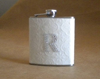 Personalized Flask of White Embossed Print with ANY Rhinestone Initial 6 ounce Stainless Steel Girly Gift Flask KR2D 4311