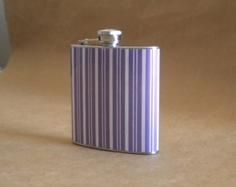 Purple and White Stripe Print Wedding Party 6 ounce Stainless Steel Gift Flask KR2D 4448