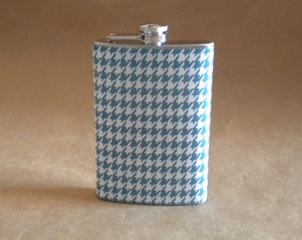 Gift Flask on SALE Teal Blue/Green and White Houndstooth Stainless Steel Girl Gift Flask KR2D4483