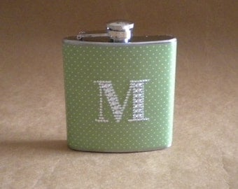Personalized Bridesmaids Gift Green and White Pin Dot Print with ANY Rhinestone Initial 6 ounce Stainless Steel Girl Gift Flask KR2D 5055