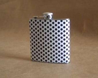 White and Black Polka Dot Bridal Party Girly Gift 6 ounce Stainless Steel Hip Flask