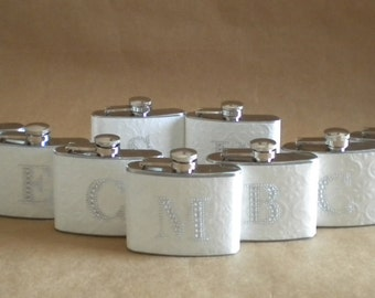 Bridal Party Special 11 Embossed White with Any Rhinestone Initial Stainless Steel 4 ounce Girly Flask