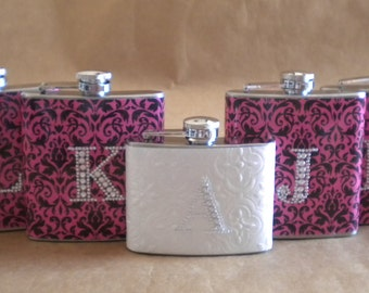 Wedding Party Special ANY Print Design 4 Bridesmaids Gift Flasks and 1 Bridal Flask All with Rhinestone Initials KR2D 5141