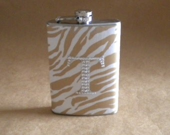 Wedding Party Gift Flask Taupe and White Zebra Print with ANY Rhinestone Initial 8 oz. Stainless Steel Girly Gift Flask KR2D 4521