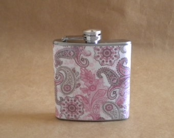 Girly Gift Pink and Gray Paisley Print 6 ounce Stainless Steel Gift Flask KR2D 5248