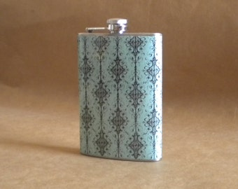 SALE Turquoise with Black Design Print Girl Gift Stainless Steel Hip Flask 8 Ounces KR2D 5262