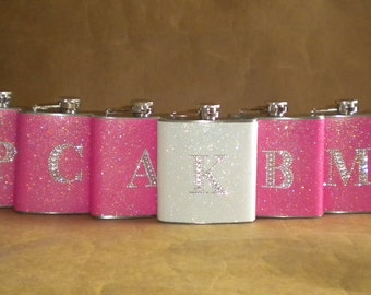 Bridesmaids Gifts 7 Sparkly ANY Color 6 ounce Flasks ALL with Rhinestone Initials Bridesmaids, Bachelorette Party Gifts KR2D 5580