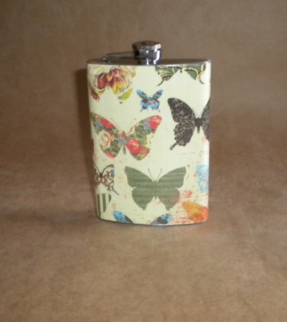 Vintage Prints of  Butterflies Wedding Party Birthday Girl Stainless Steel Gift Flask