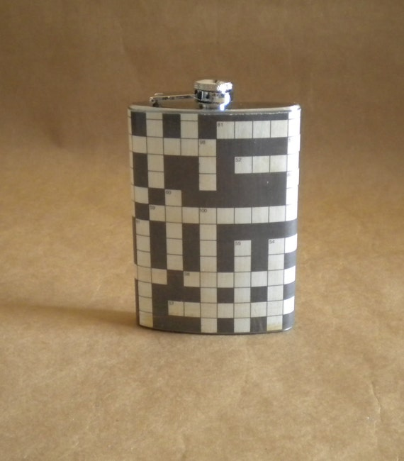 SALE Flask Crossword Puzzle Print Gift Stainless Steel Flask
