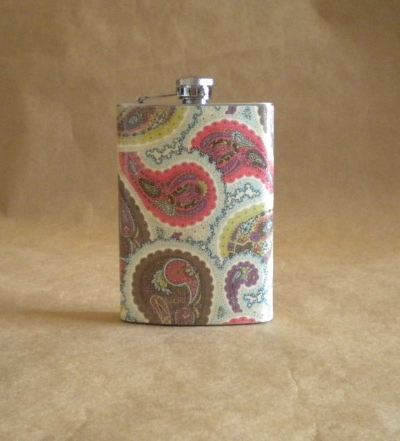Paisley Print  of Coral, Teal, Brown,Green and Blue 8 ounce Stainless Steel Hip Flask
