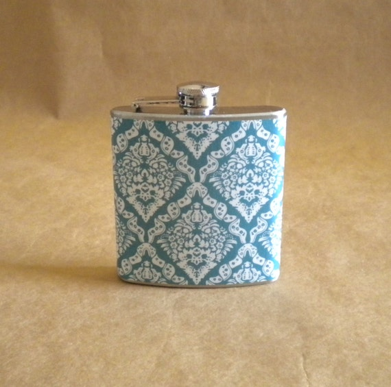 Flask Teal and White Victorian Diamond Print Bridal Party 6 ounce Stainless Steel Girl Gift Flask