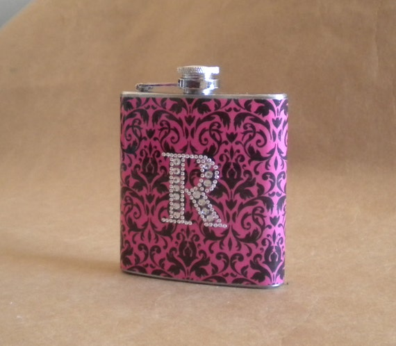 Pink and Black Damask Print with Rhinestone Initial Bridesmaids Gift Flask 6 ounces KR2D5144