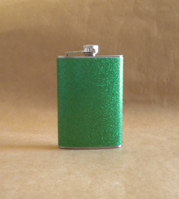 Kelly Green or ANY Color Sparkly 8 ounce Stainless Steel Girly Gift Flask KR2D 5199