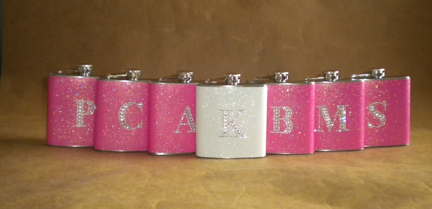 Bridesmaids Gifts 7 Sparkly ANY Color 6 Ounce Flasks ALL With