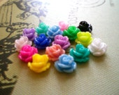 Your choice of any 5 colors, 8mm rose cabochon post earrings