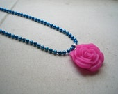Blue and Magenta Rose Necklace