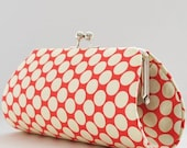 Full Moon Polka Dot in Cherry by Amy Butler..Anita Clutch Purse