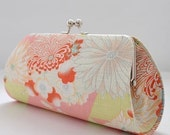 Japanese Flowers and Traditional Patterns in Pink..Medium Clutch Purse