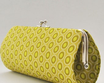 Oval Elements in Chartreuse..Small Clutch Purse
