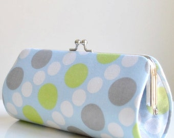 Doodle Dots in Blue Green..Small Clutch Purse