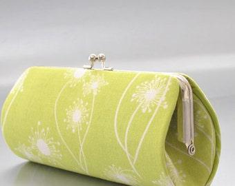 Dandelion in Lime..Small  Clutch Purse