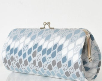 Banded Leaves in Gray..Small Clutch Purse