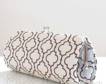 Tiles in Brown..Small Clutch Purse