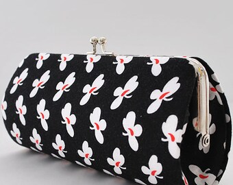Small Floral in Black..Small Clutch Purse
