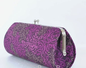 Nature Elements in Ripe Plum..Small Clutch Purse