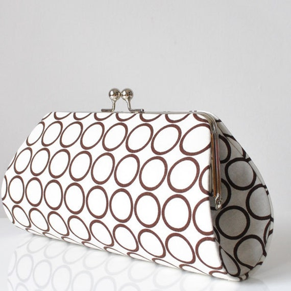 Ring Toss in Brown..Large Clutch Purse