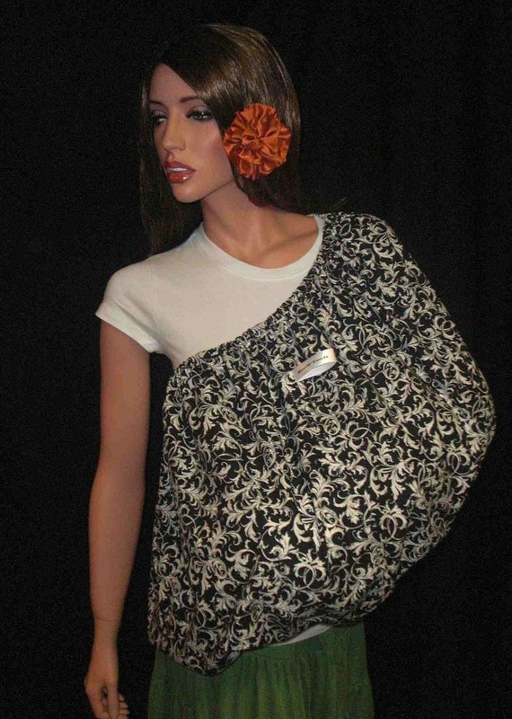 BooBTooB The ONLY Nursing Cover That's Got Your Back (Black with White Scrolls)