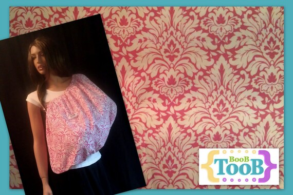 Classy Pink and White Damask BooB TooB, The ONLY Nursing Cover That's Got Your Back